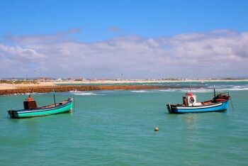 Fishing boats in Struisbaai harbour, Whale Coast, Western Cape