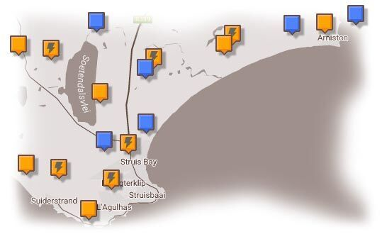 Map of Cape Agulhas & Surrounding Accommodation